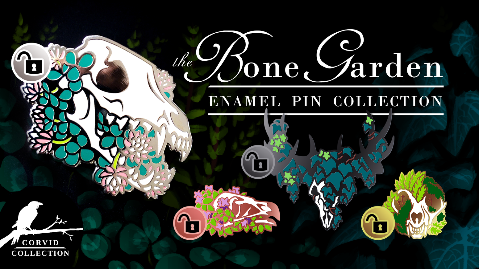 A hard enamel pin collection of grinning skulls and creeping plants, courtesy of your favorite bird-themed shop.