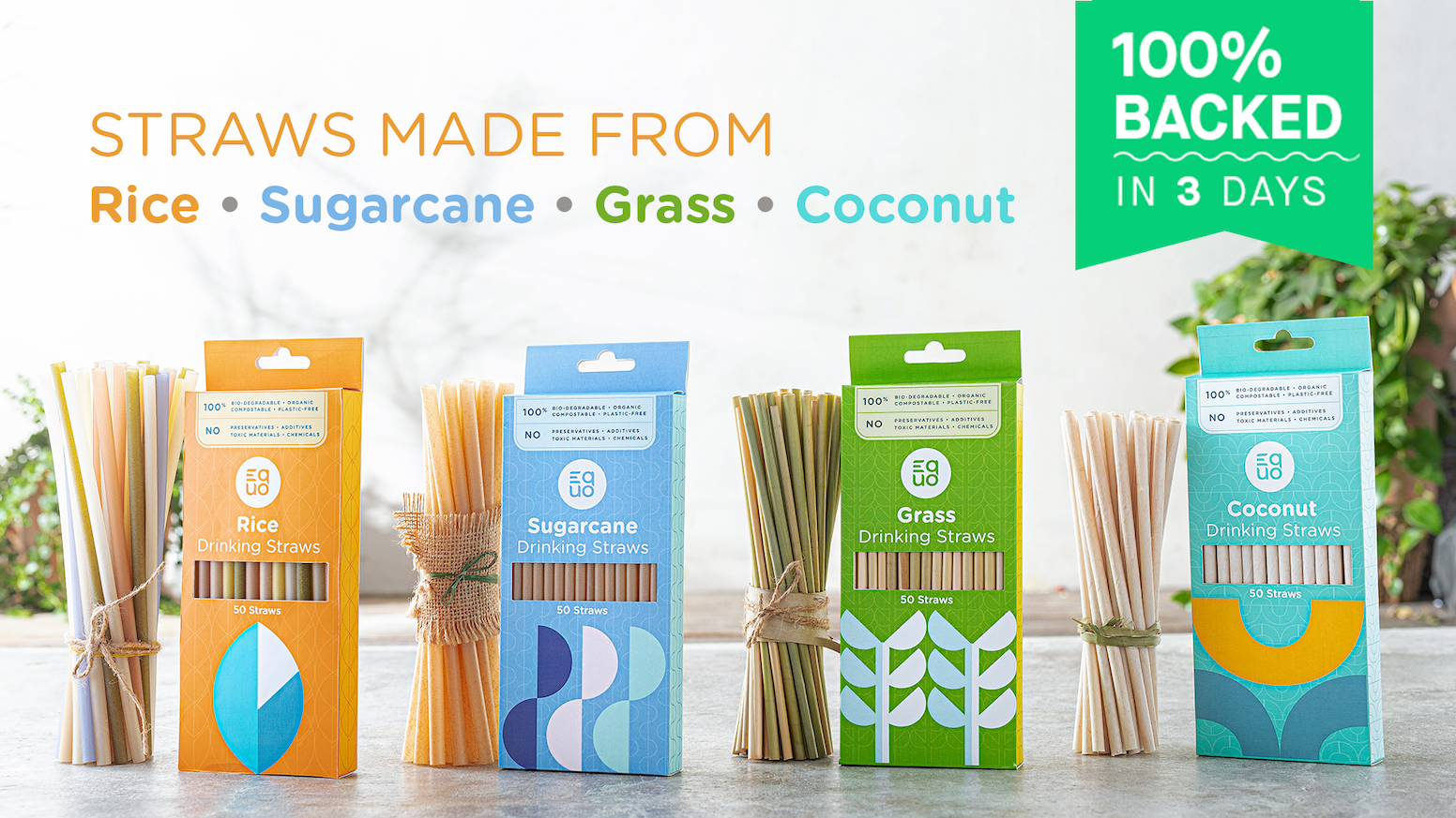 Made from Coconut, Sugarcane, Rice and Grass. Plastic-free, chemical-free, non-toxic and 100% biodegradable and compostable.