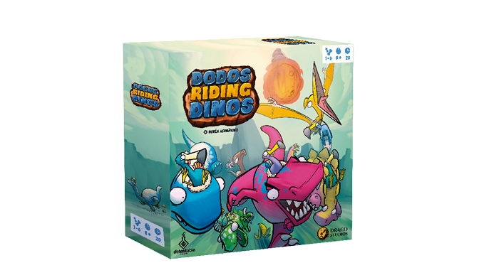 Dexterity racing game for 1-6 players with funny miniatures and art. Dodos and Dinos from the same universe as War for Chicken Island.