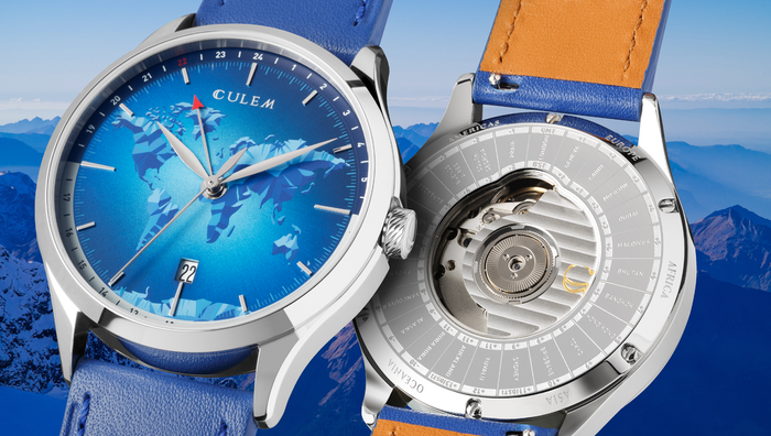 A collection of 12 GMT Swiss made watches inspired by the world. Unique world map designs, top grade ETA2893-2 automatic movement & 24 correct world time zones in GMT & BST. Explore the World - GMT collection.