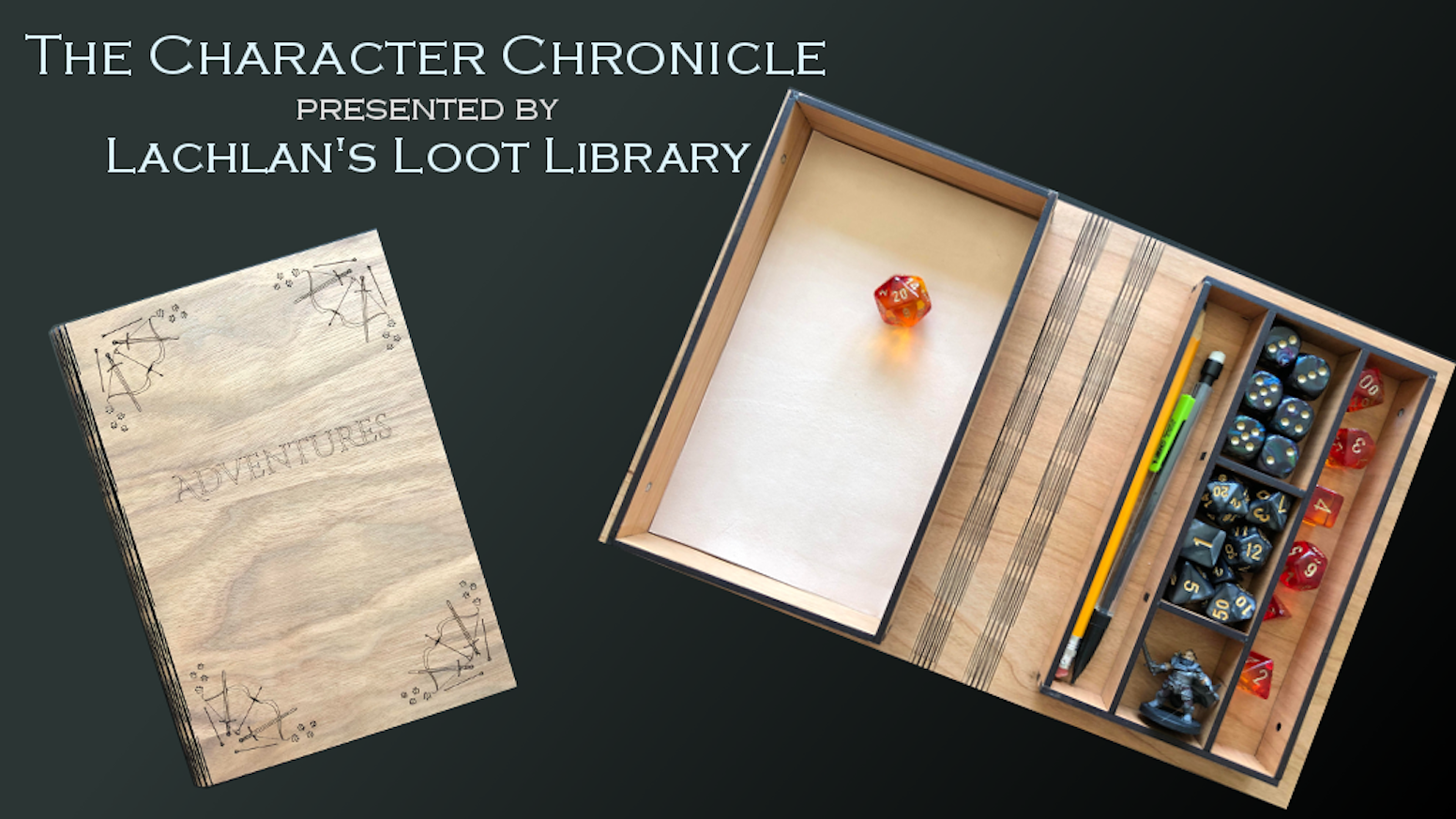 An elegant book-shaped character/dice storage box for Dungeons and Dragons and other TTRPG games.