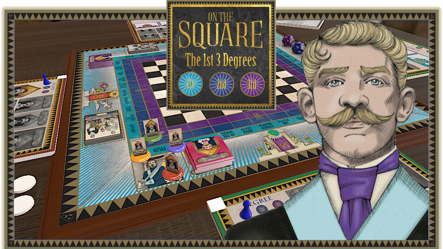 A board game, themed on the first three degrees of Freemasonry. Players experience what it's like to take part in a Lodge Meeting.