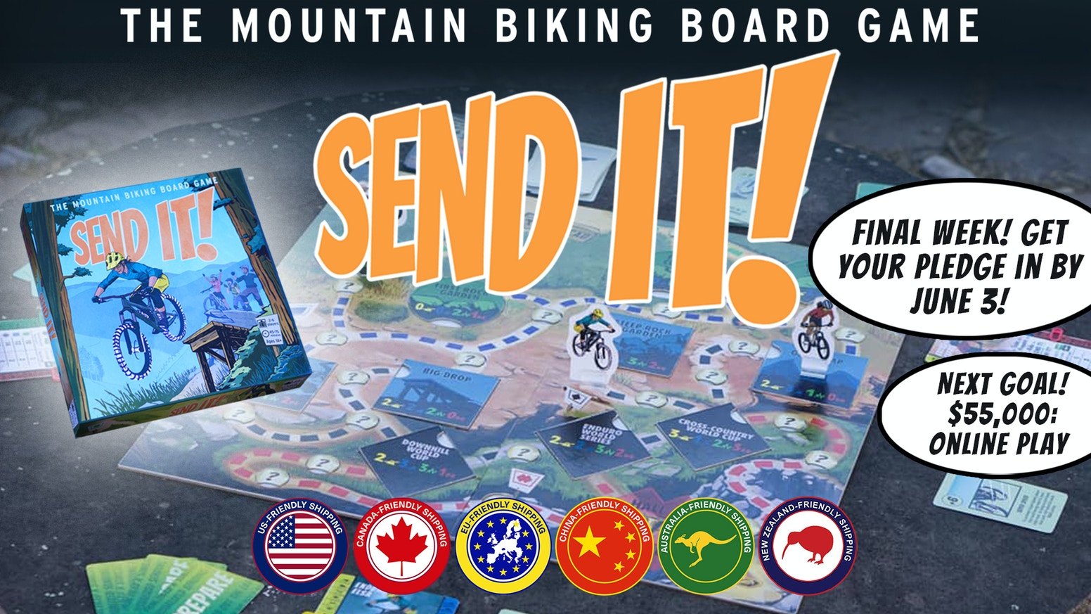 A mountain biking board game complete with riding, crashing, skill building and, of course...SENDING IT!