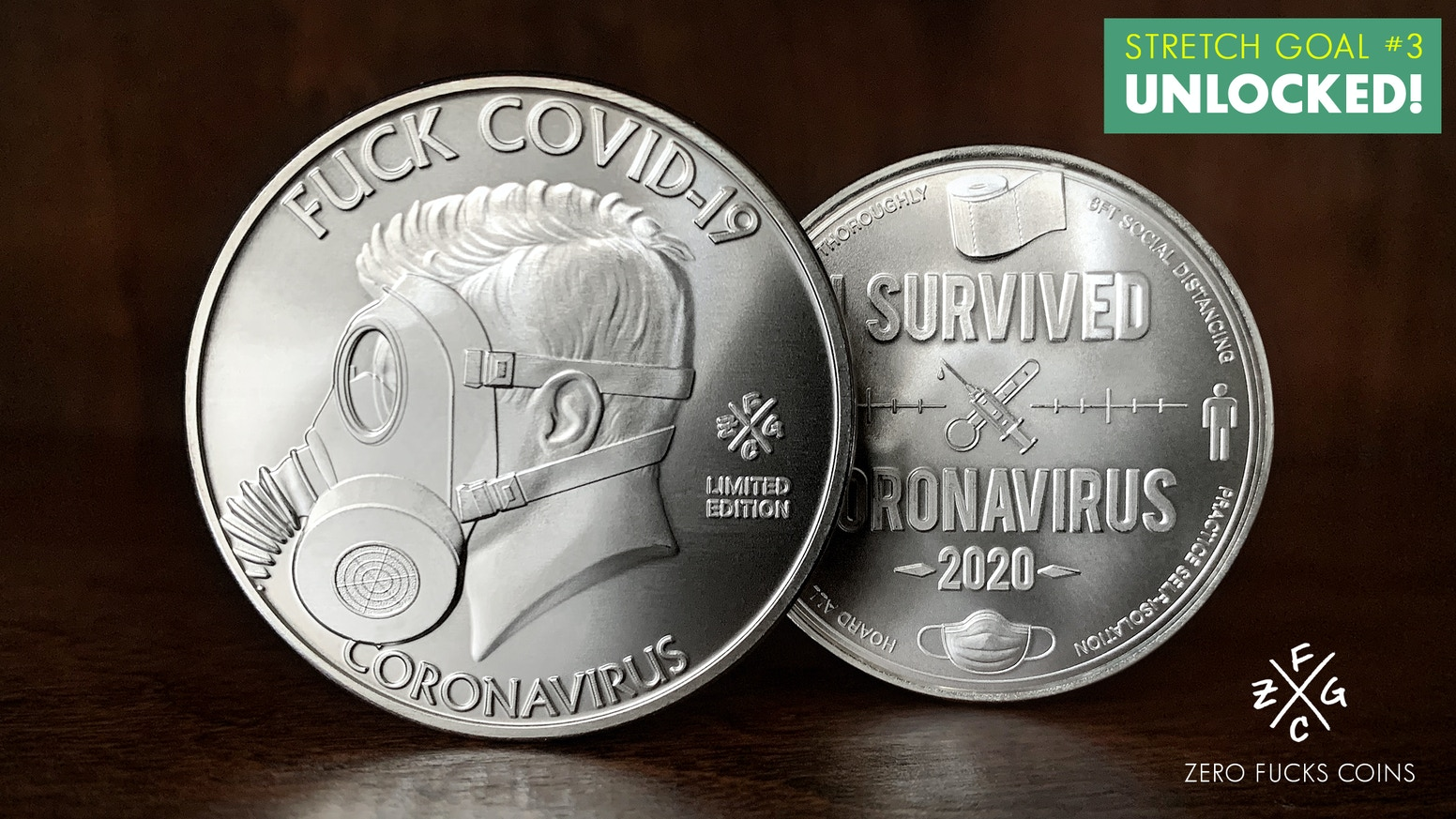 A commemorative coin to celebrate surviving this stupid fuckin' pandemic & these crazy fuckin' times! FUCK COVID-19! (Large 39mm, 1oz.)
