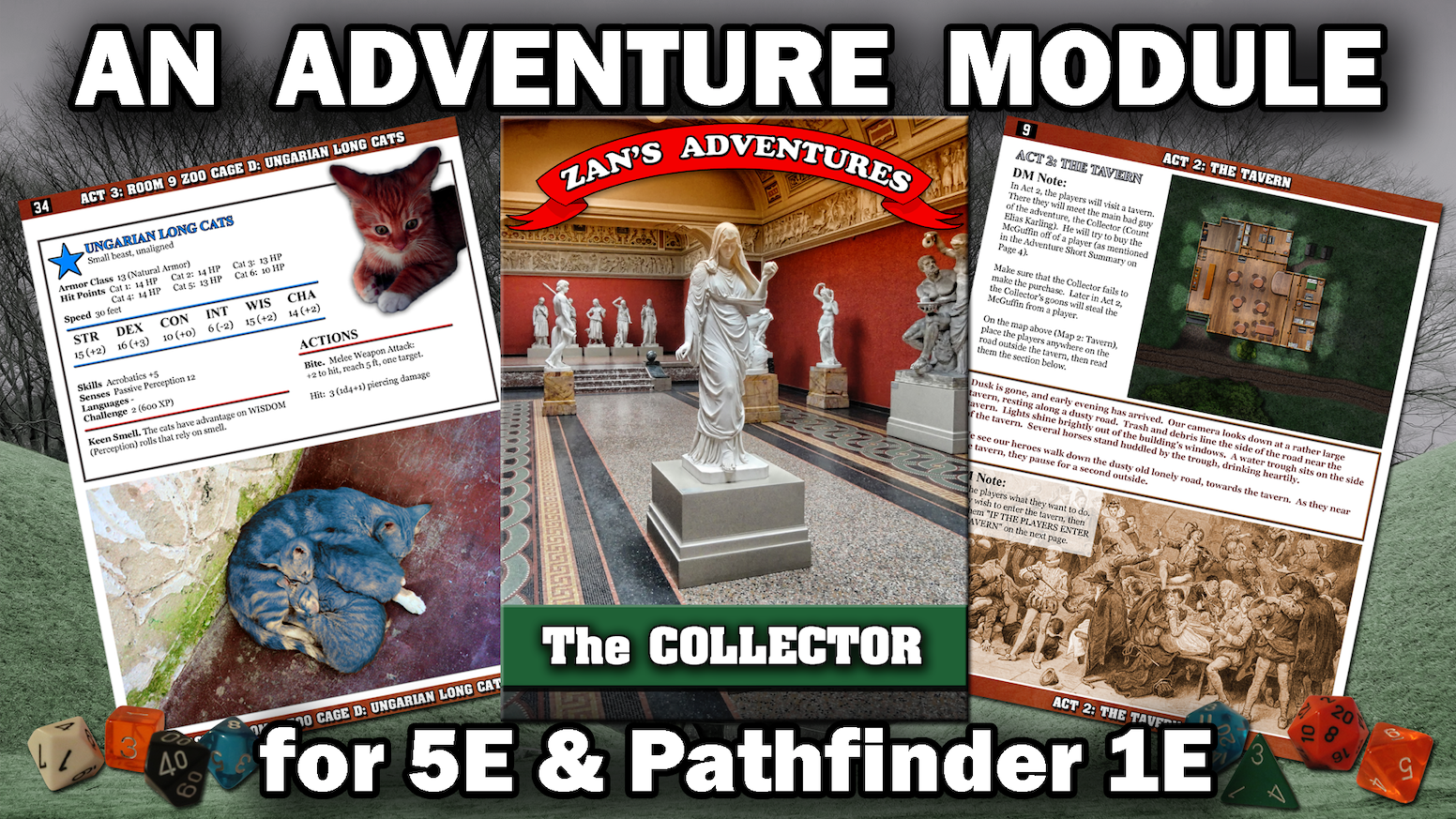 The Collector, a man of wealth and power, will stop at nothing to get that which he desires. RPG Adventure Module 5E D&D, Pathfinder 1E