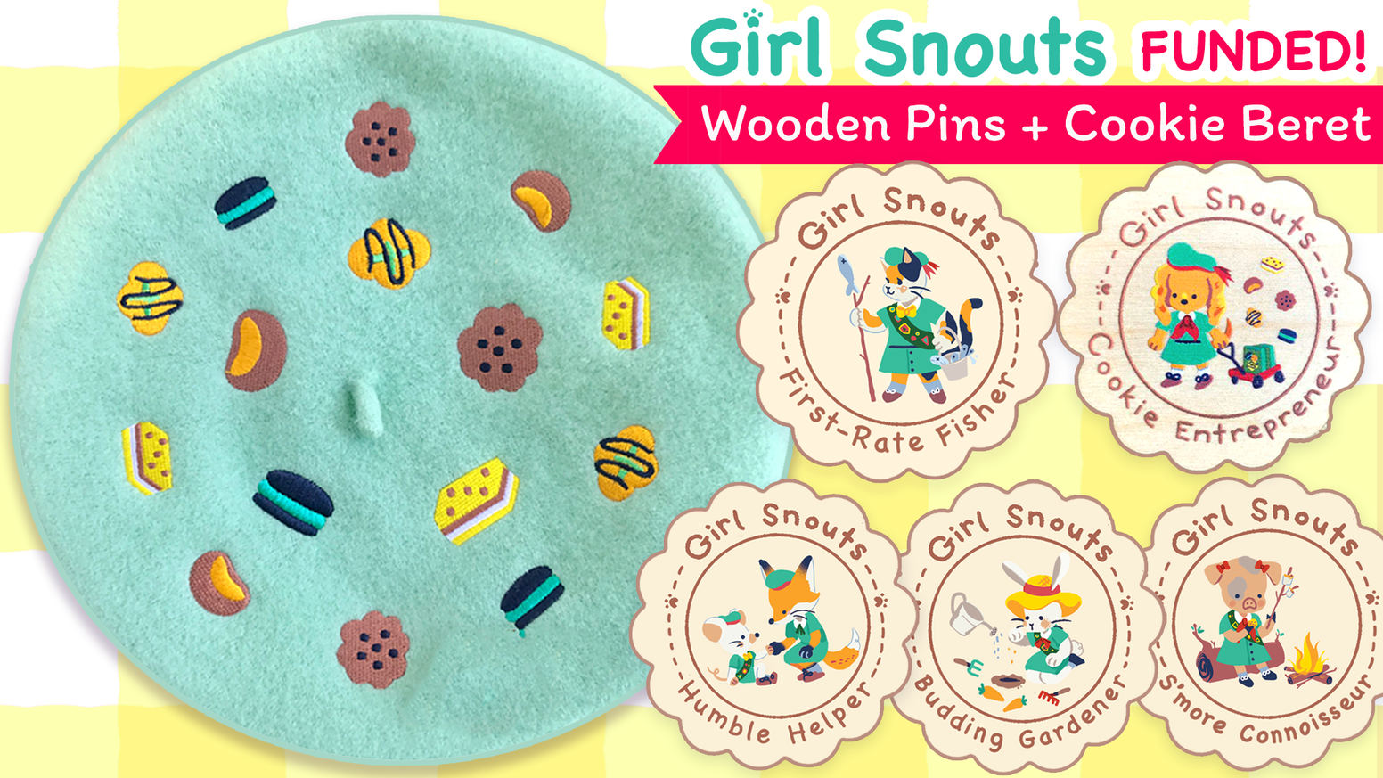 Meet the Girl Snouts! ✿ Help me and these furry friends meet our goal of creating adorable wooden pins and a unique beret!  U・ᴥ・U