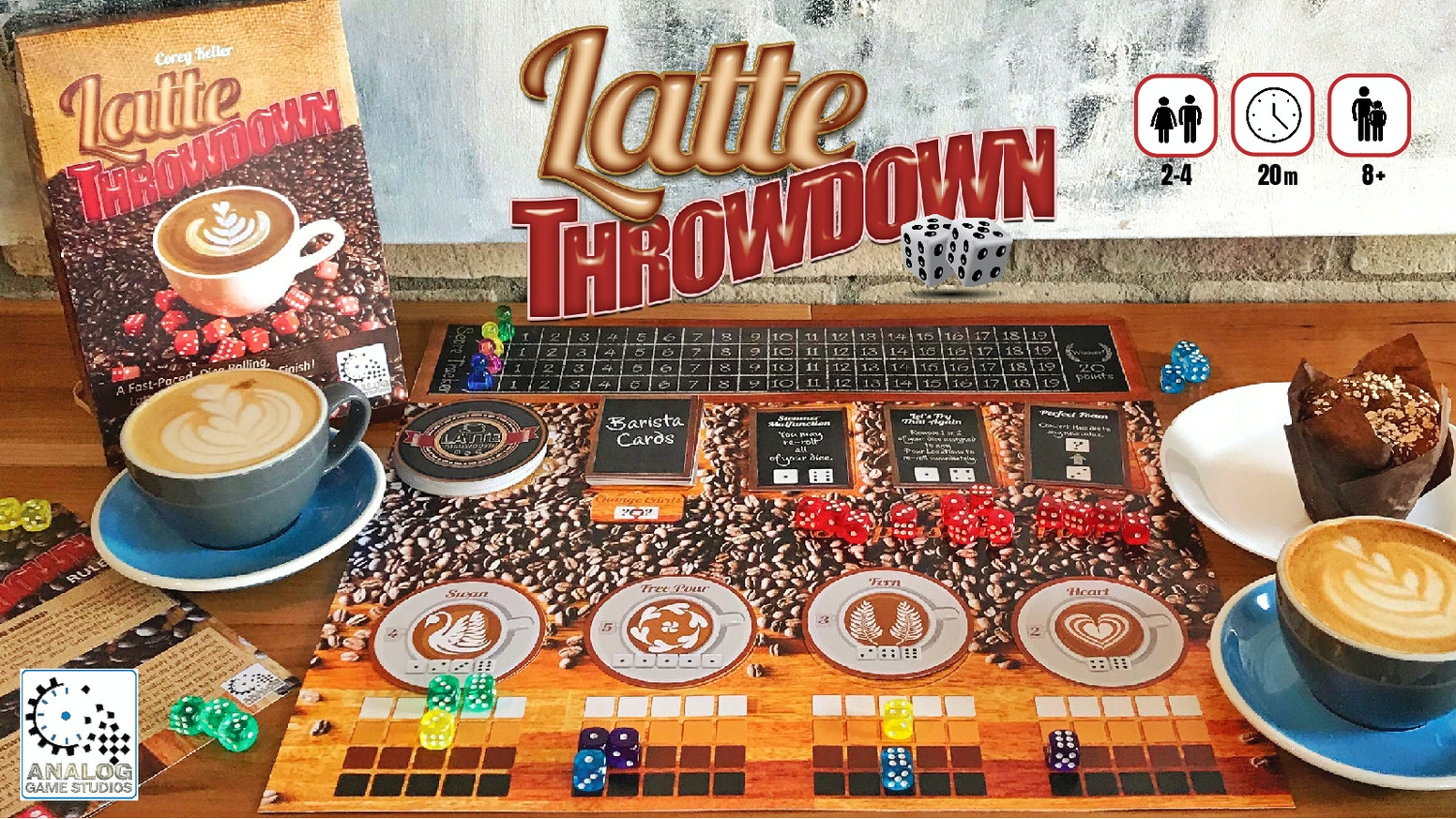 A Fast Paced Dice Rolling Board Game and Battle for Best Barista