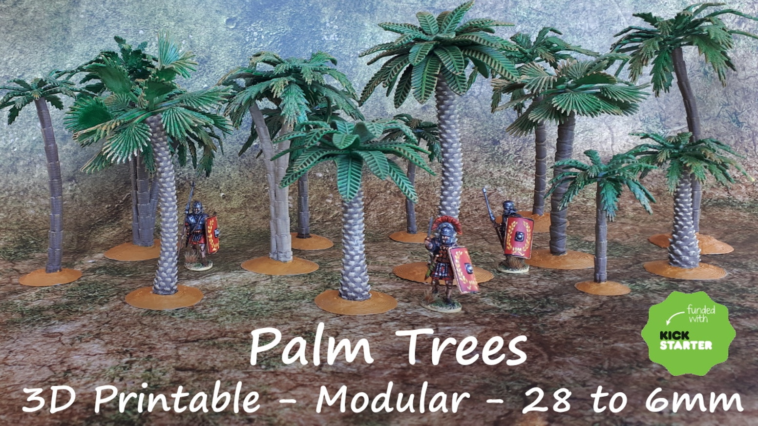 Designed for 28mm, but can be scaled down for 15, 10 and 6mm   /  Now  includes 3 trunk and 3 leaf designs, each with multiple variants