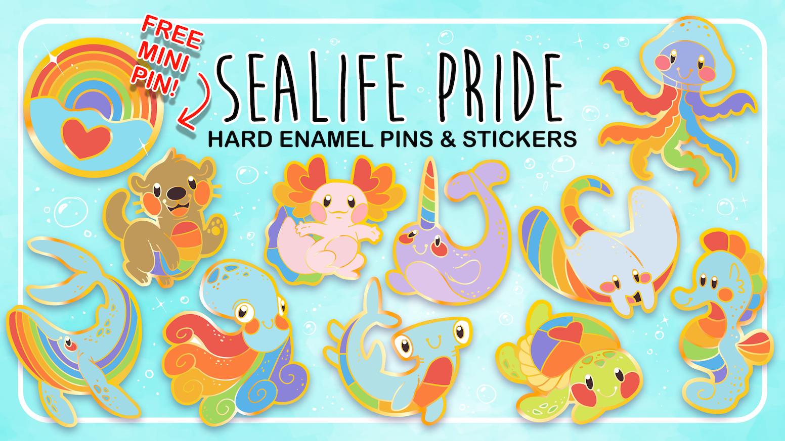 A hard enamel pin series boasting both underwater love and queer pride!