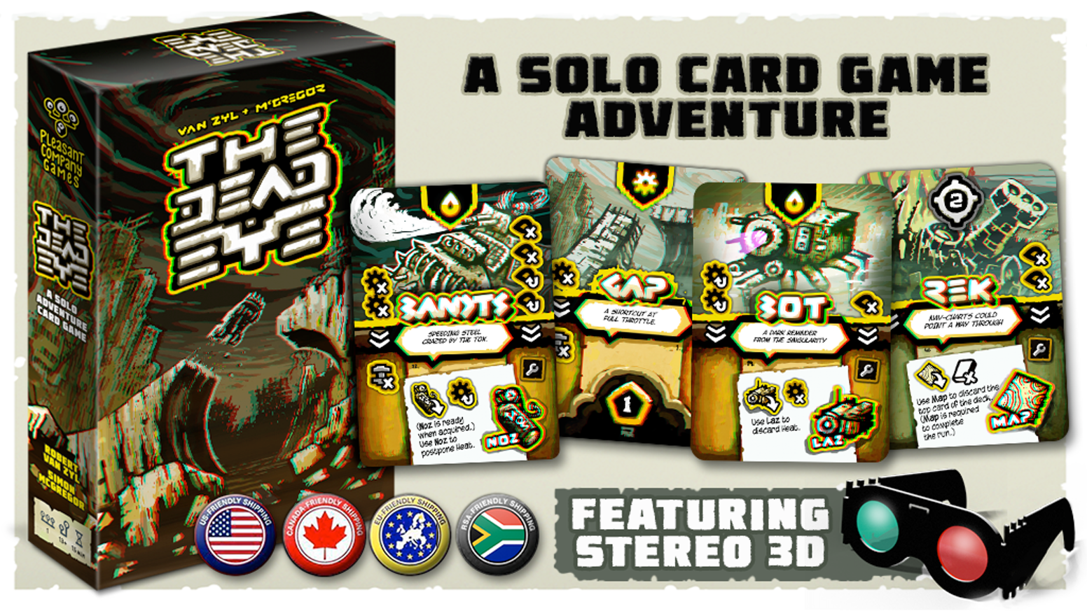Escape a perilous planet. A solo card game adventure. Featuring stereoscopic 3D.