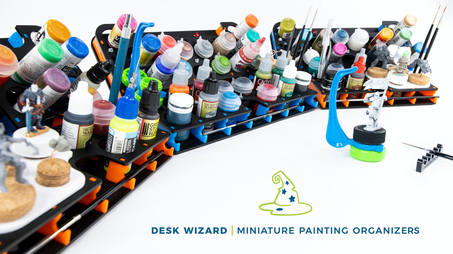 Beautiful and versatile desk organizers that hold the major mini paint brands, brushes, tools, your phone and even the Hobby Holder! A Game Envy Creation