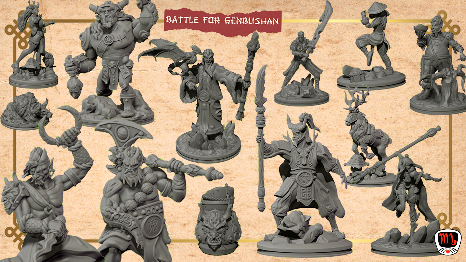 High quality asian themed 3D printable STL fantasy miniatures (Pre-supported!)