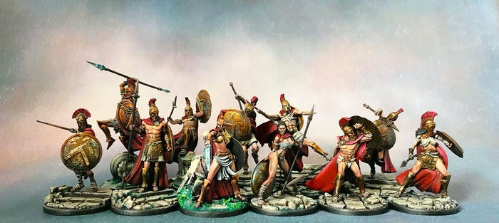 Spartan hoplites miniatures series, 35mm scale, in high quality resin, for your tabletop gaming.