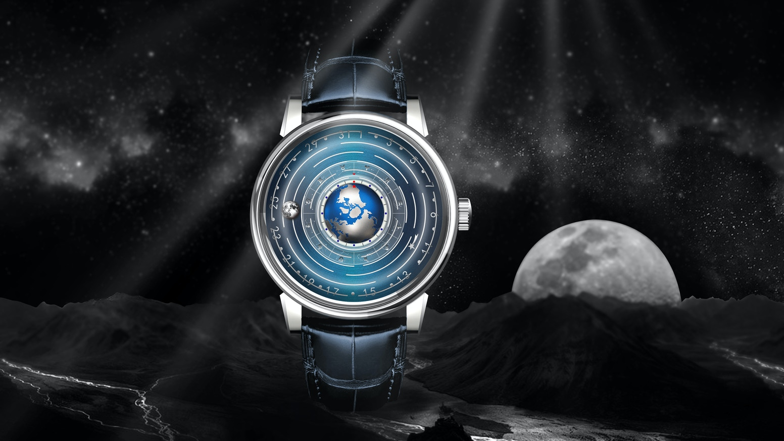 You will get a mechanical watch quite different from the traditional one, related to the rotation of Earth and Moon.