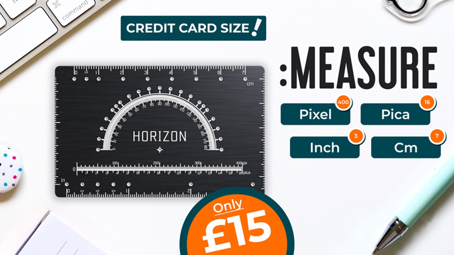 Inch & Cm & Pixel & Pica ruler, compass, protractor, t-square and more—all in your wallet!