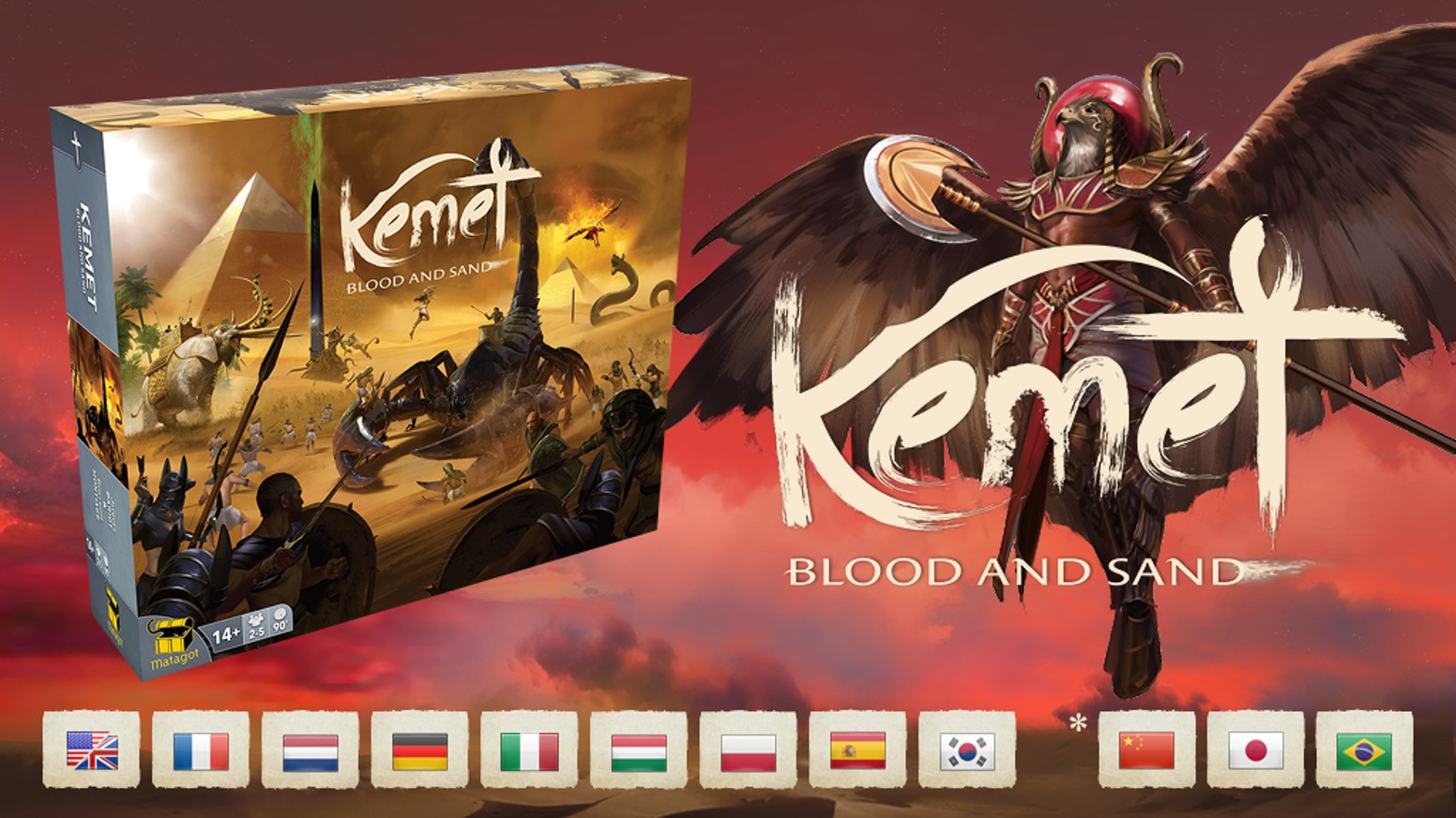 Witness the rebirth of a classic from Matagot. Master godlike powers and the monsters of ancient Egypt, in Kemet: Blood and Sand.