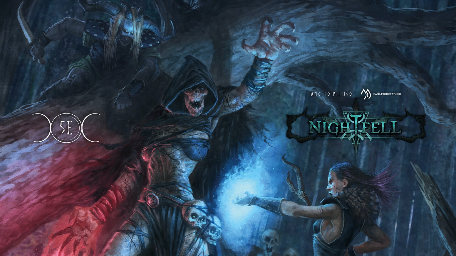 Nightfell is a Horror Fantasy setting, a grimdark world under the influence of the Moon, for 5th Edition, by Angelo Peluso & Mana Project Studio.