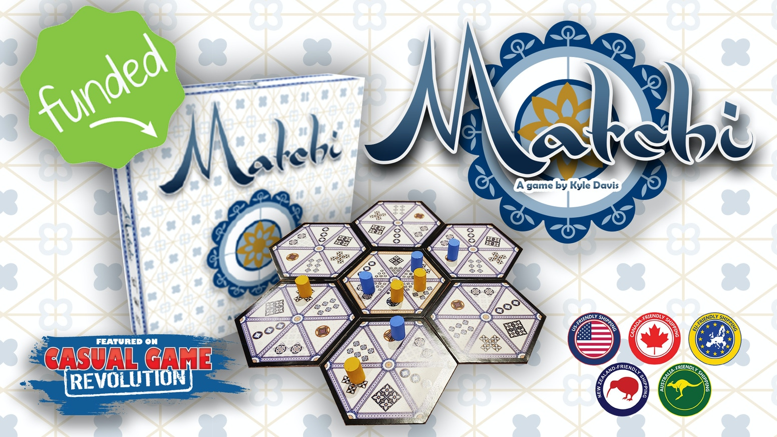 Matchi is an addictive 2-player board game that feels timeless in its simplicity, presented in a beautiful Moroccan style.