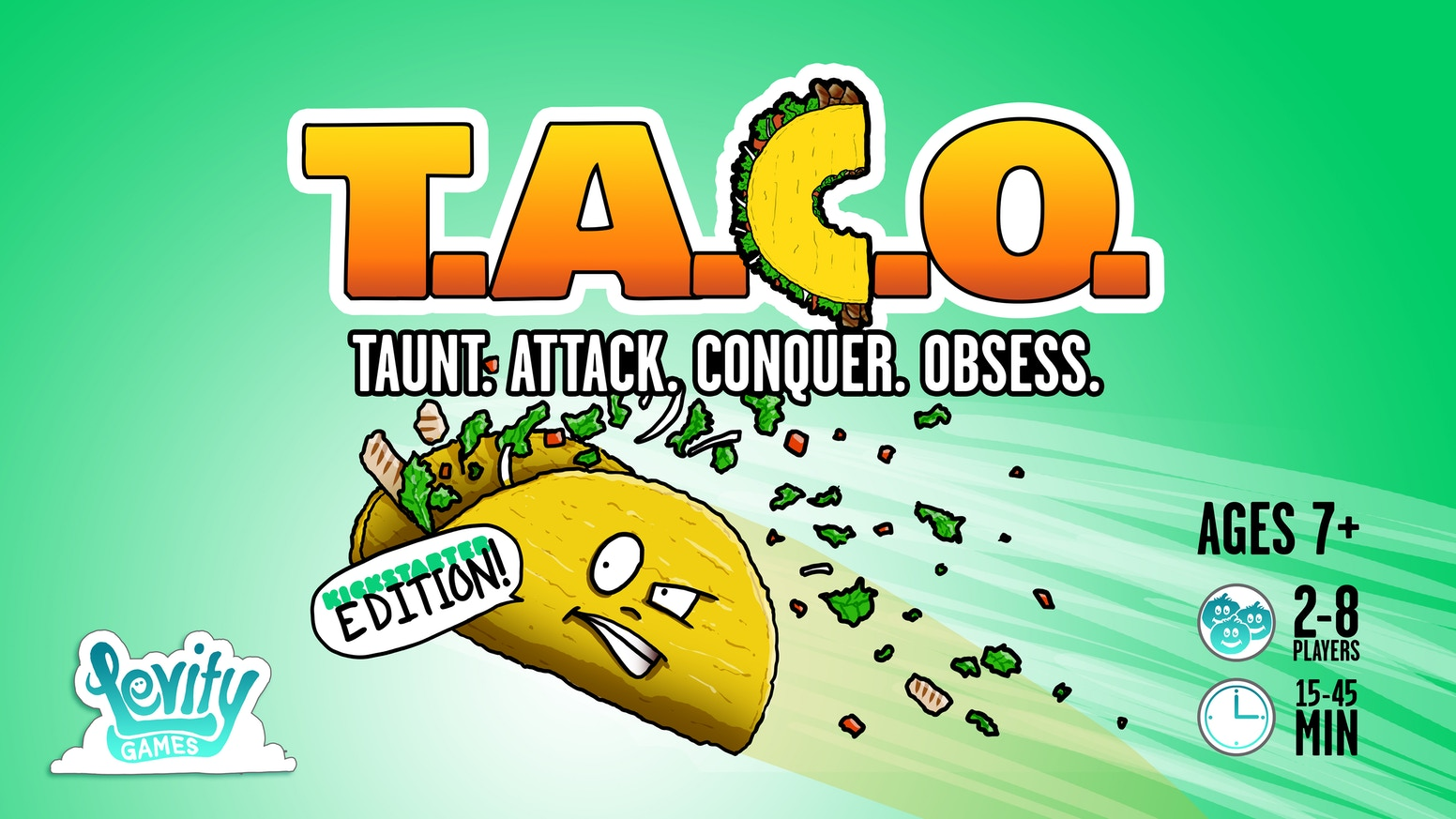 It's a race to build epic tacos. Strategically steal and destroy the most coveted ingredients to win. 10-45 minutes for 2-8 players.