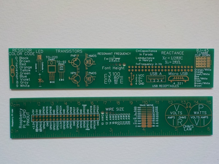 A Raspberry PI reference ruler with frequently used pinouts, formulas, and schematic symbols.