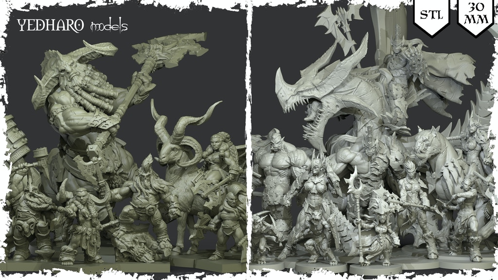 3D Printing Miniatures by Yedharo Models - STL - 30mm - RPG project video thumbnail