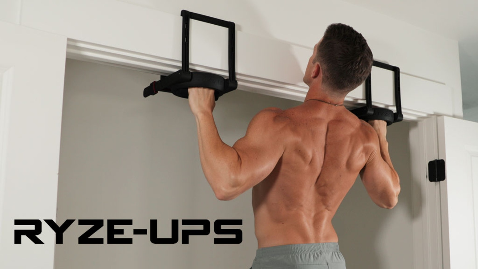 Pull-up handles that fold to the size of a book, lock-on to nearly any door, and adjust to give you big results.