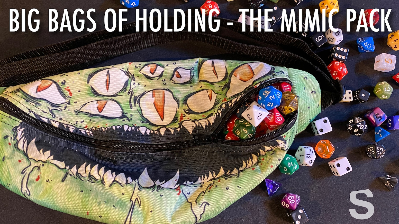 Bag of Holding - Mimic Fanny Packs for Dice and Loot. Dungeons and Dragons, Pathfinder, or any fantasy RPG.