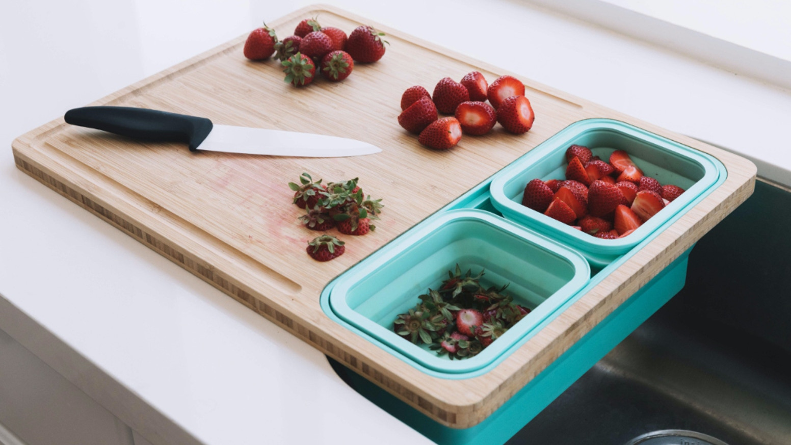 Save space in your kitchen — Bamboo cutting board to quickly clean, prep and store your food easily.