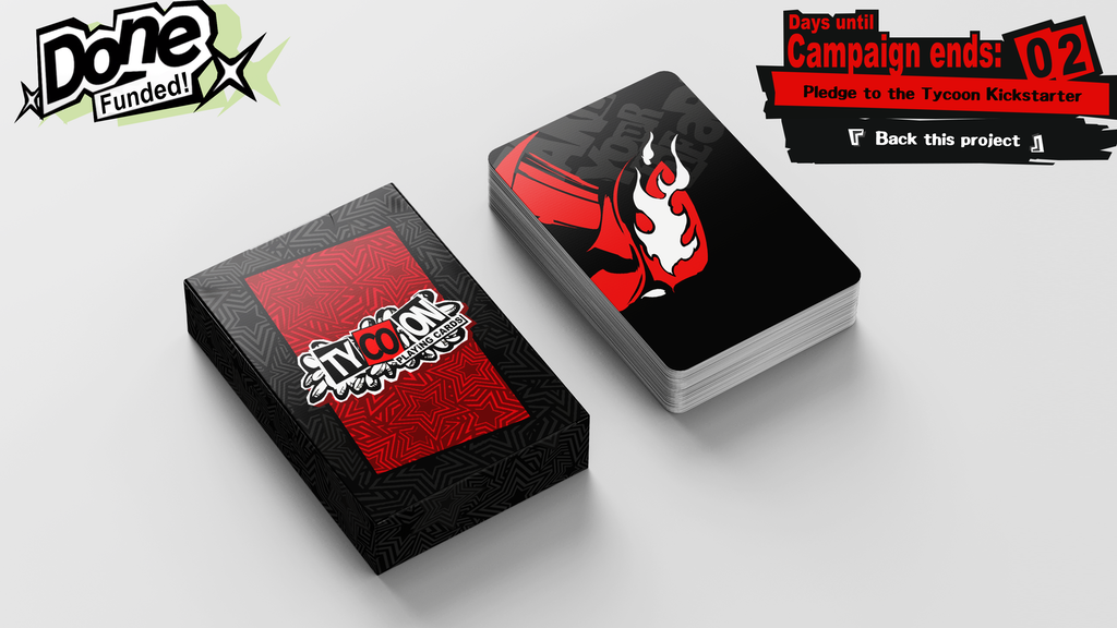 Bridge sized cards based on the design of the Tycoon Card Game from Persona 5 Royal.