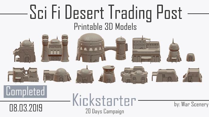 3D Printable STL Files - Sci-Fi Desert Trading Post and Scatter Terrain