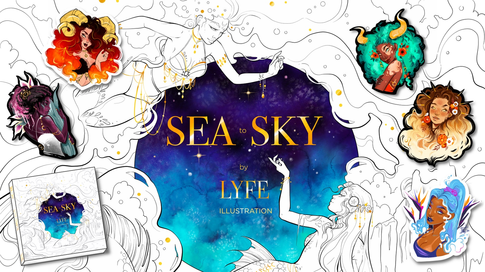 A beautifully detailed coloring art book filled with astrology art work, prints, stickers, and more shiny goods by Lyfe Illustration