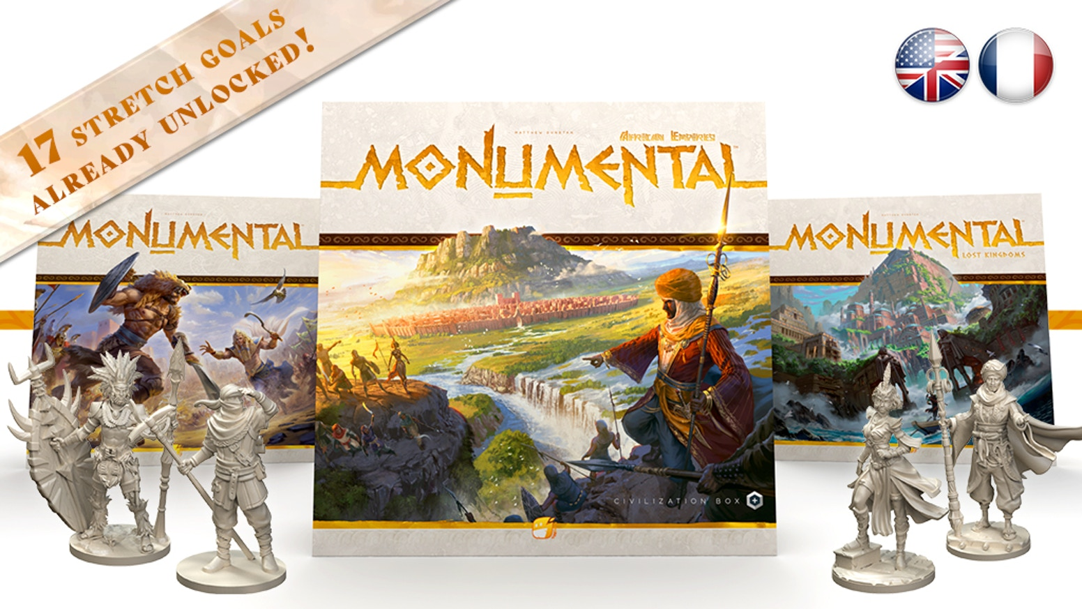 Get the reprint of the hit civilization game MONUMENTAL (+1st expansion) and discover AFRICAN EMPIRES, its new thrilling expansion.