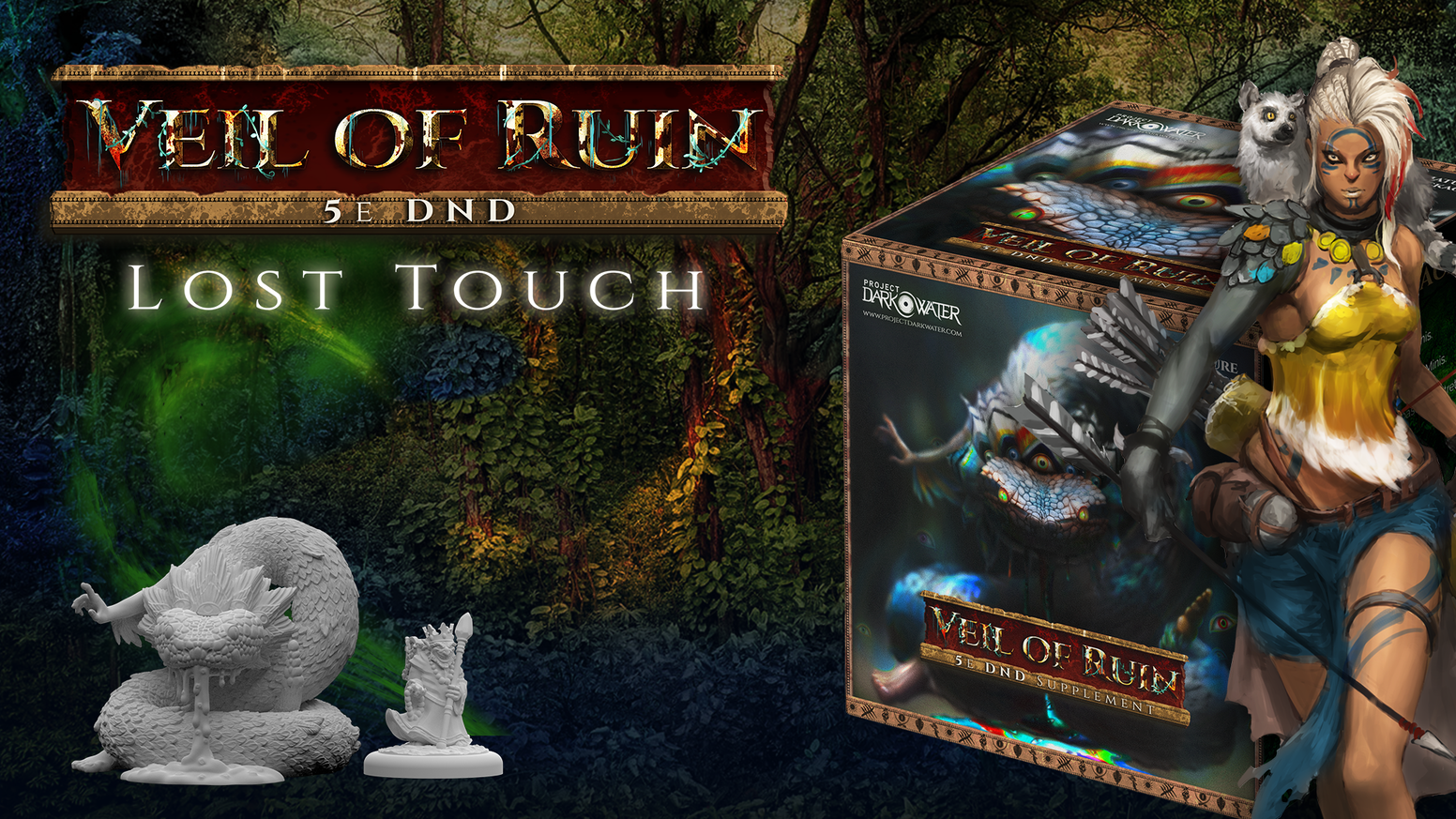 Veil of Ruin is a post-apocalyptic fantasy campaign setting for DnD 5e, complete with a compelling adventure and finely crafted minis.