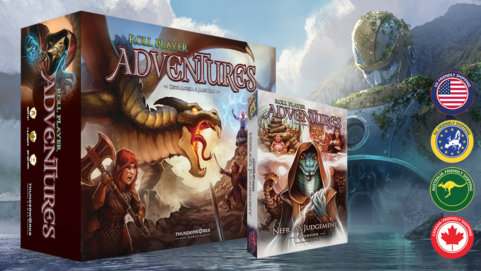 A stand-alone, co-op, narrative board game for 1-4 players. Import your Roll Player character and go on an adventure!
