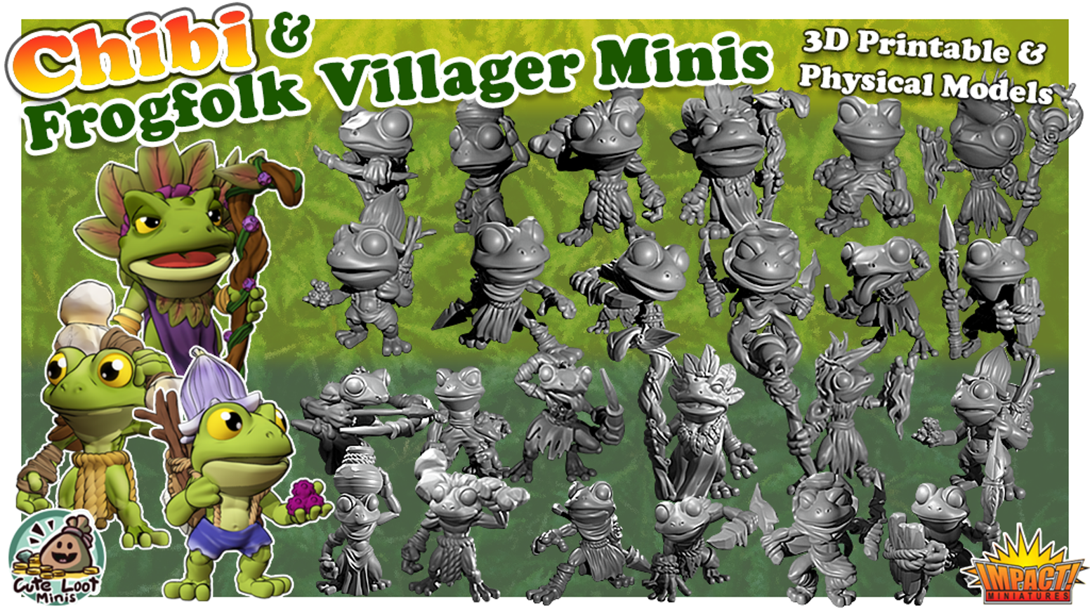 Frogfolk Villager Miniatures - 3-D Printable STL files and Physical models in both RPG and Chibi styles
