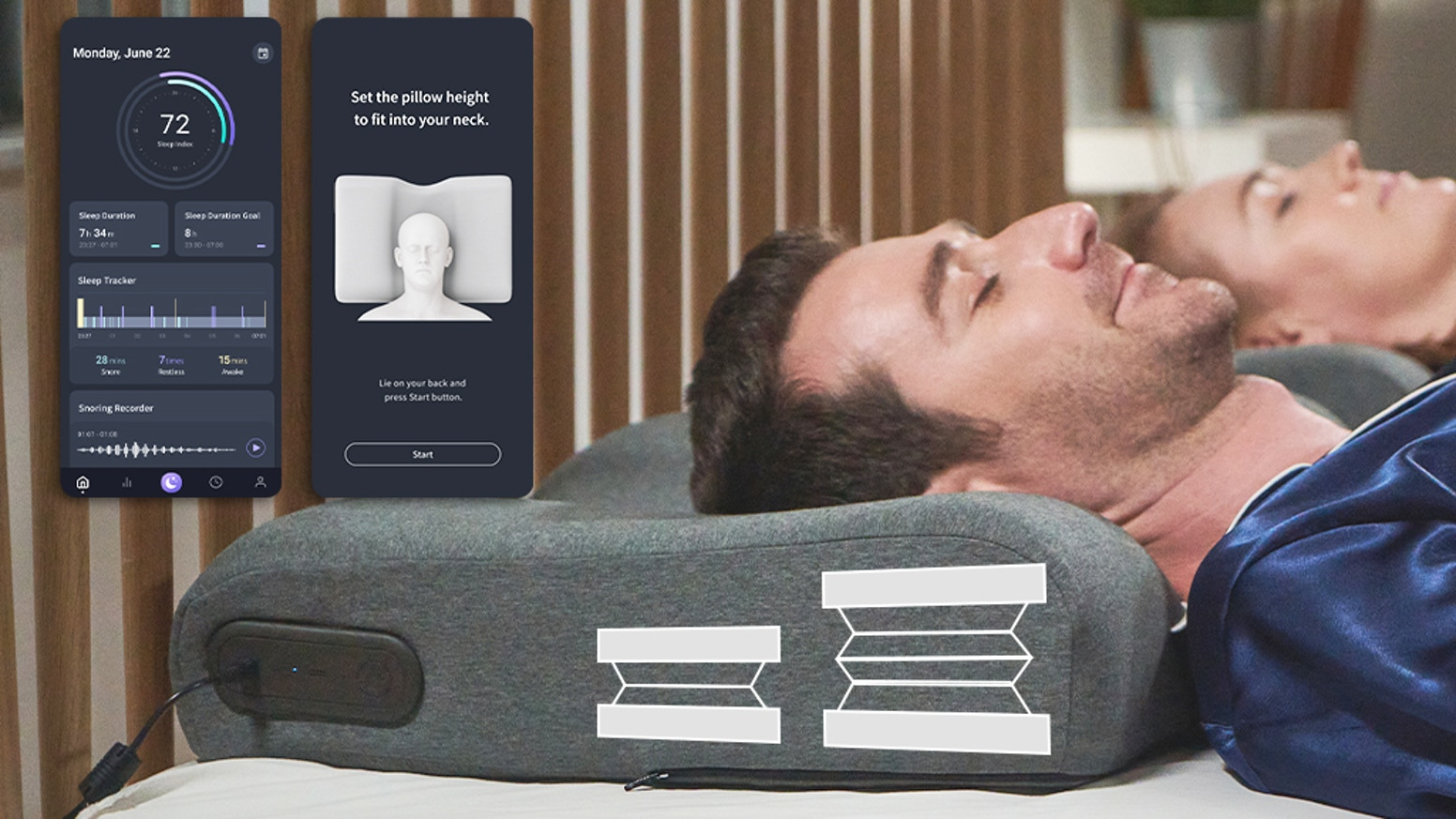 ✔️Detects Snoring ✔️Auto-Height Adjustment ✔️AI-Powered Sleep App ✔️Back & Side Sleepers ✔️Open Cell Memory Foam ✔️Proper Neck Support