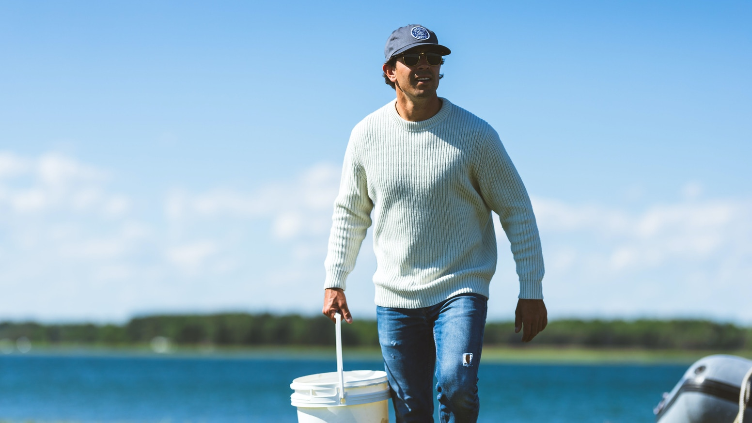 The first fisherman's sweaters made with a soft blend of recycled oyster shells, recycled water bottles, and natural lambswool.