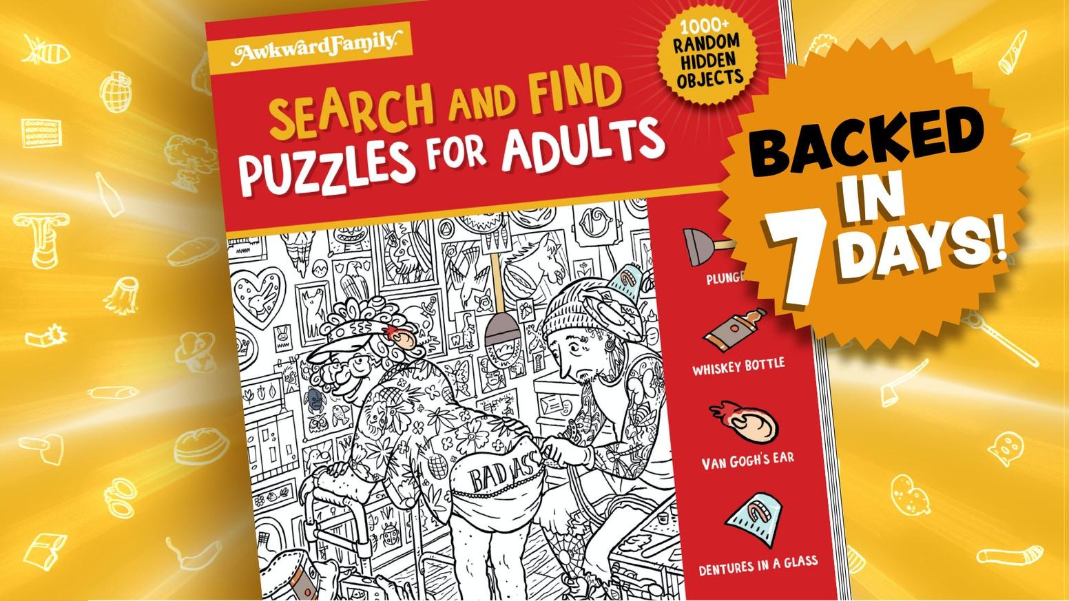 A humorous twist on search & find puzzles that's designed for (immature) grown-ups.
