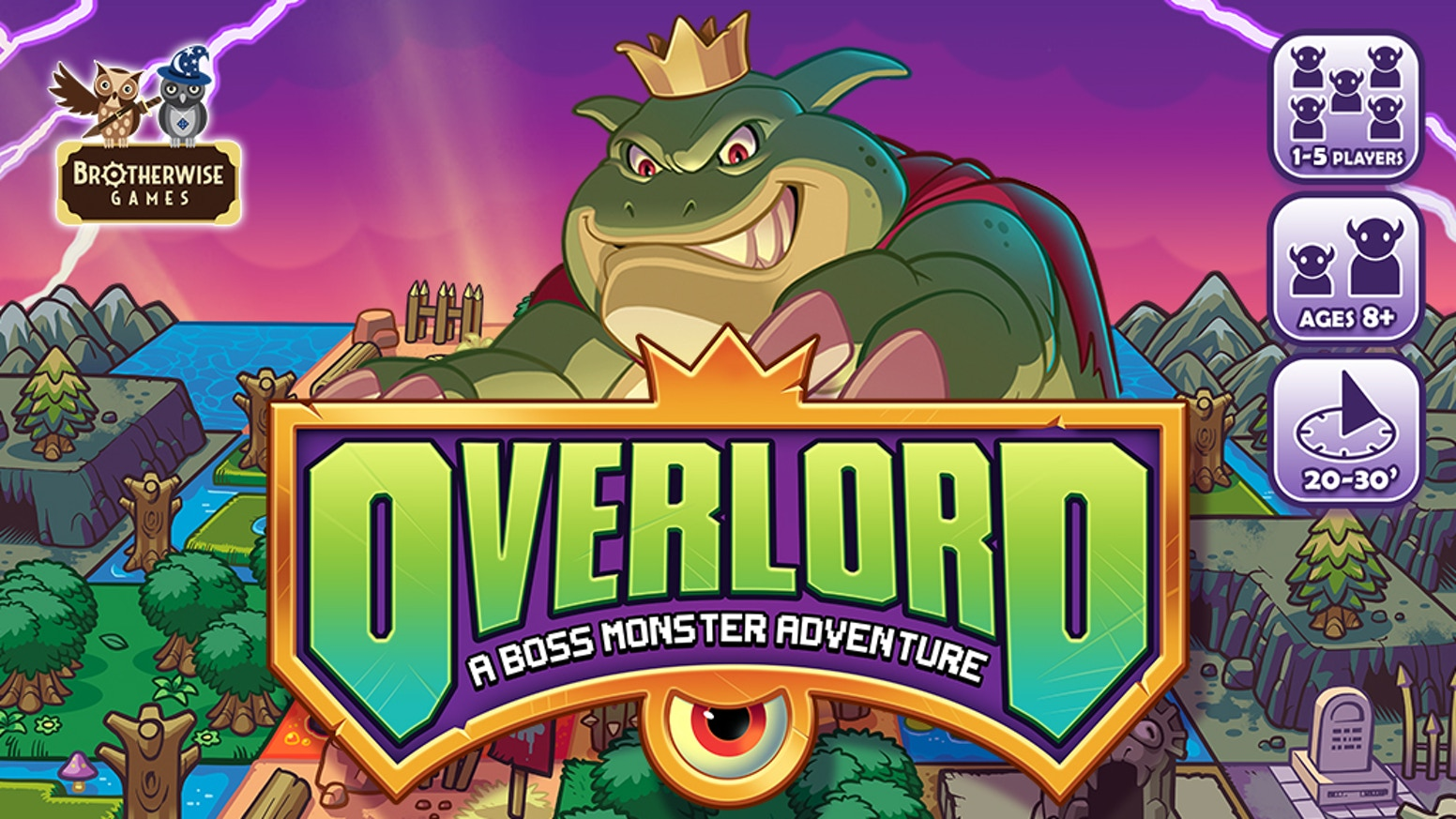 It's not too late to pledge! Become a villain in this retro-inspired board game. Draft terrain tiles, recruit monsters, build your map, and become the Overlord!