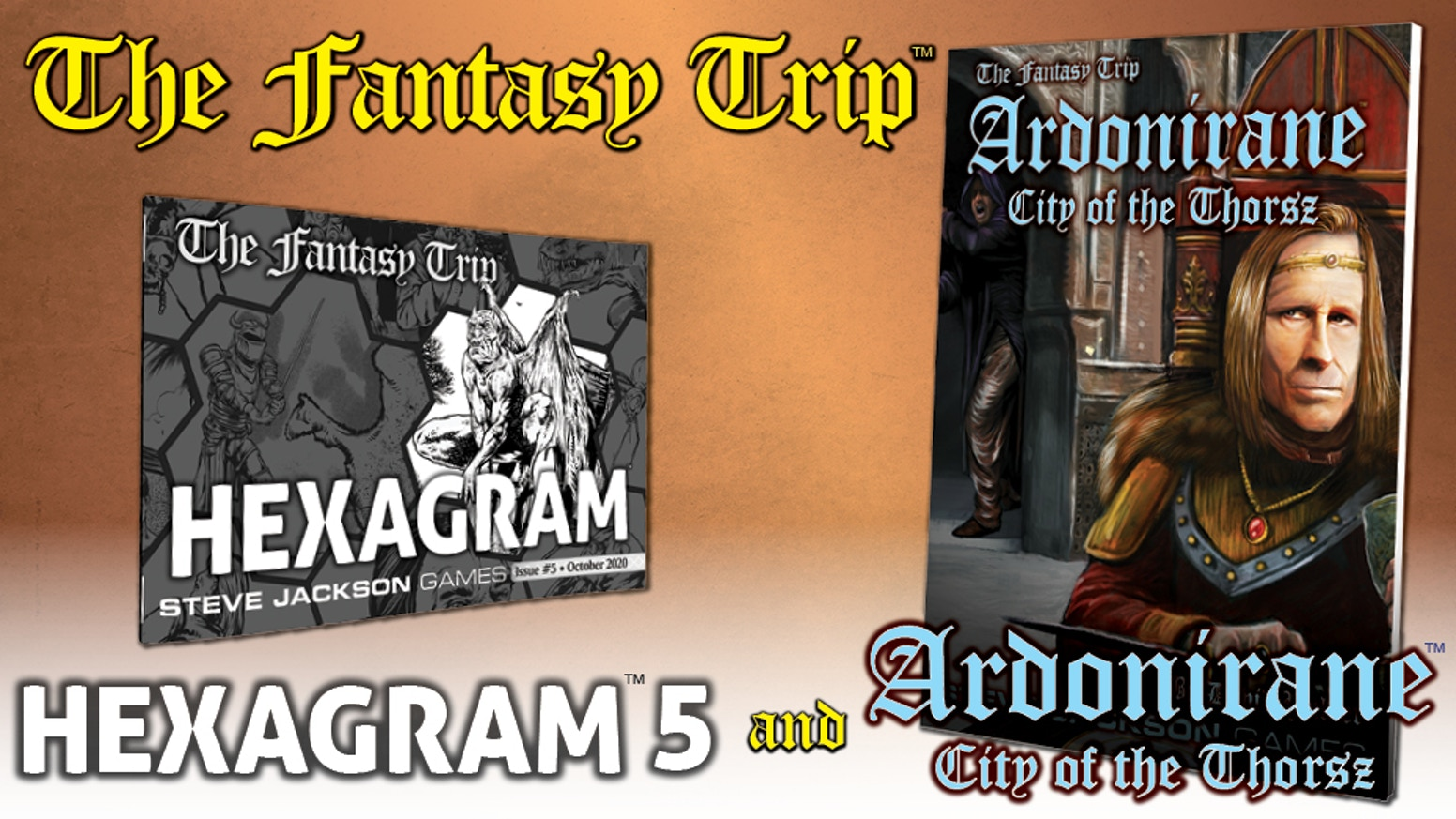 The fifth issue of the Hexagram series and a new city guide for use with The Fantasy Trip roleplaying game.