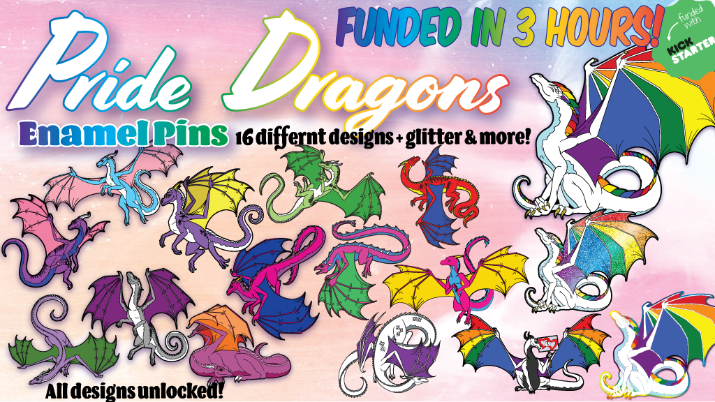 Pride Dragons Enamel Pins, Acrylic Charms & Stickers project video thumbnail
