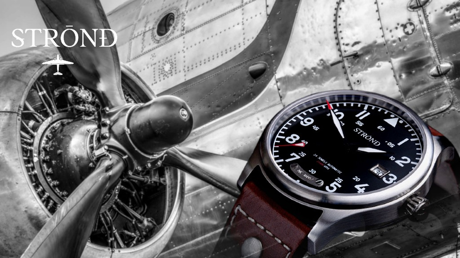 Classic 1930's inspired automatic Pilots watch, British Designed, with 1930's DC-3 airplane parts incorporated  !