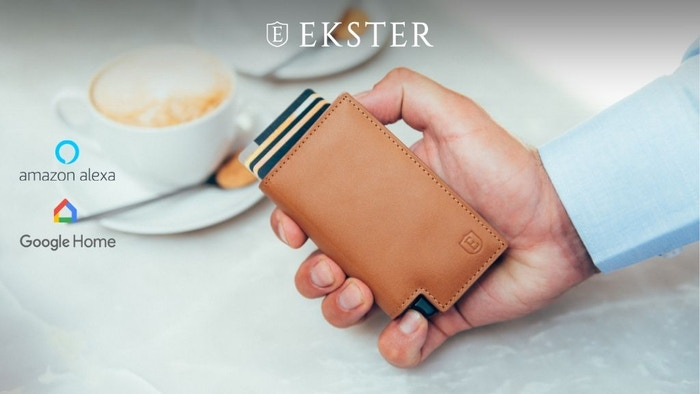 Voice-activated trackable wallets with instant card access at the click of a button. Never lose your wallet or phone again.