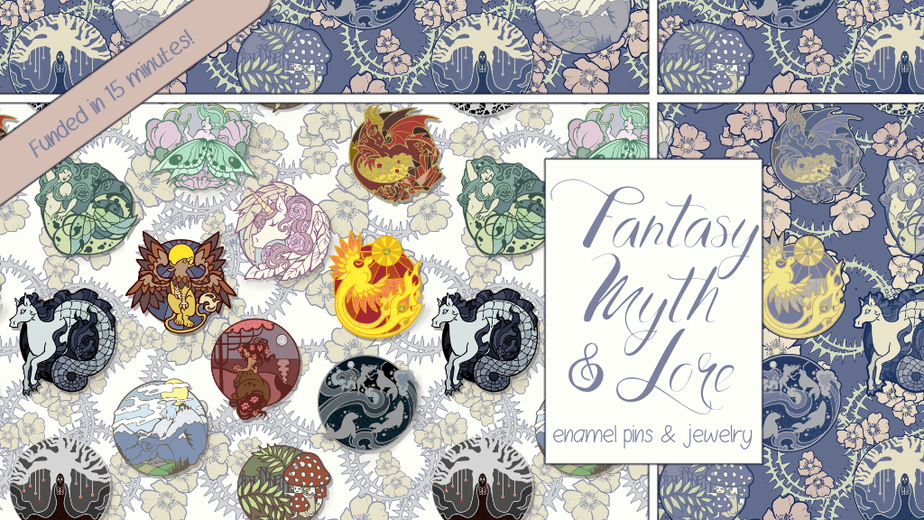 Project image for Fantasy, Myth & Lore Enamel Pin and Jewelry Collection
