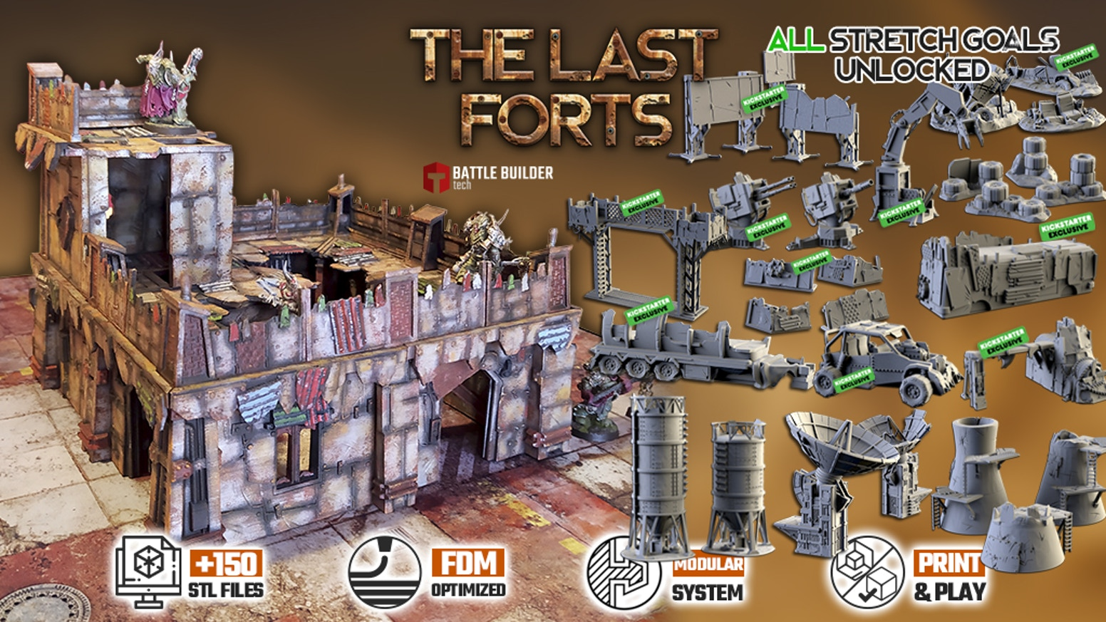 Modular wargaming terrain designed for 3D Printing that doesn't require extra clips (STL files).