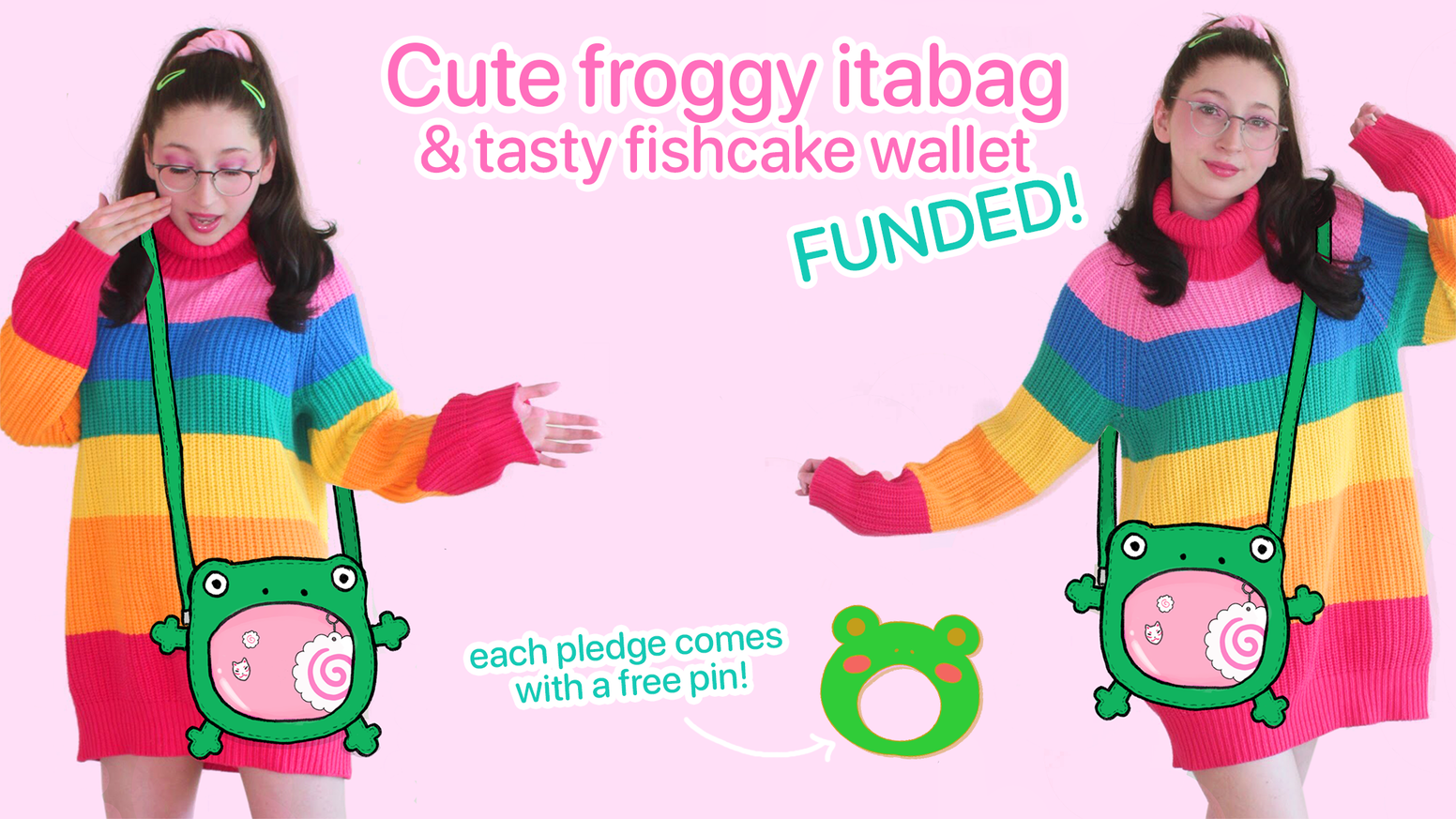 I am designing a cute and functional froggy ita crossbody/shoulder bag (pin bag) & a matching wallet with a fishcake on it!
