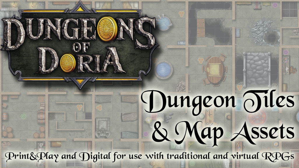 Project image for Dungeons of Doria: Room Tiles and Artwork for P&P or VTT