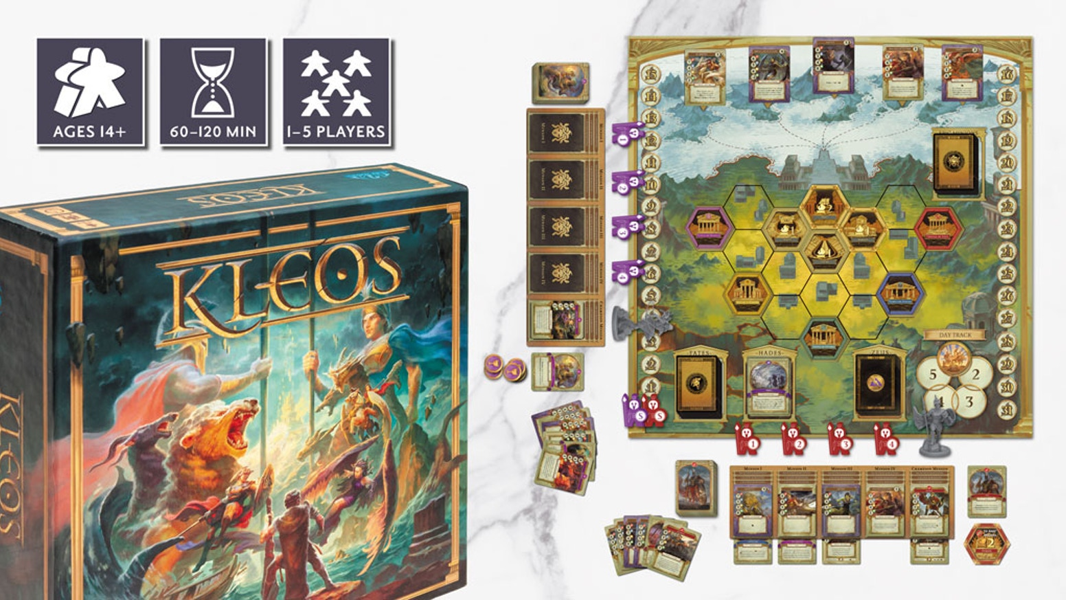 A contest has arisen among the gods!  Card play, tactical hex-based combat, and area control in a board game for 1-5 Greek Gods.