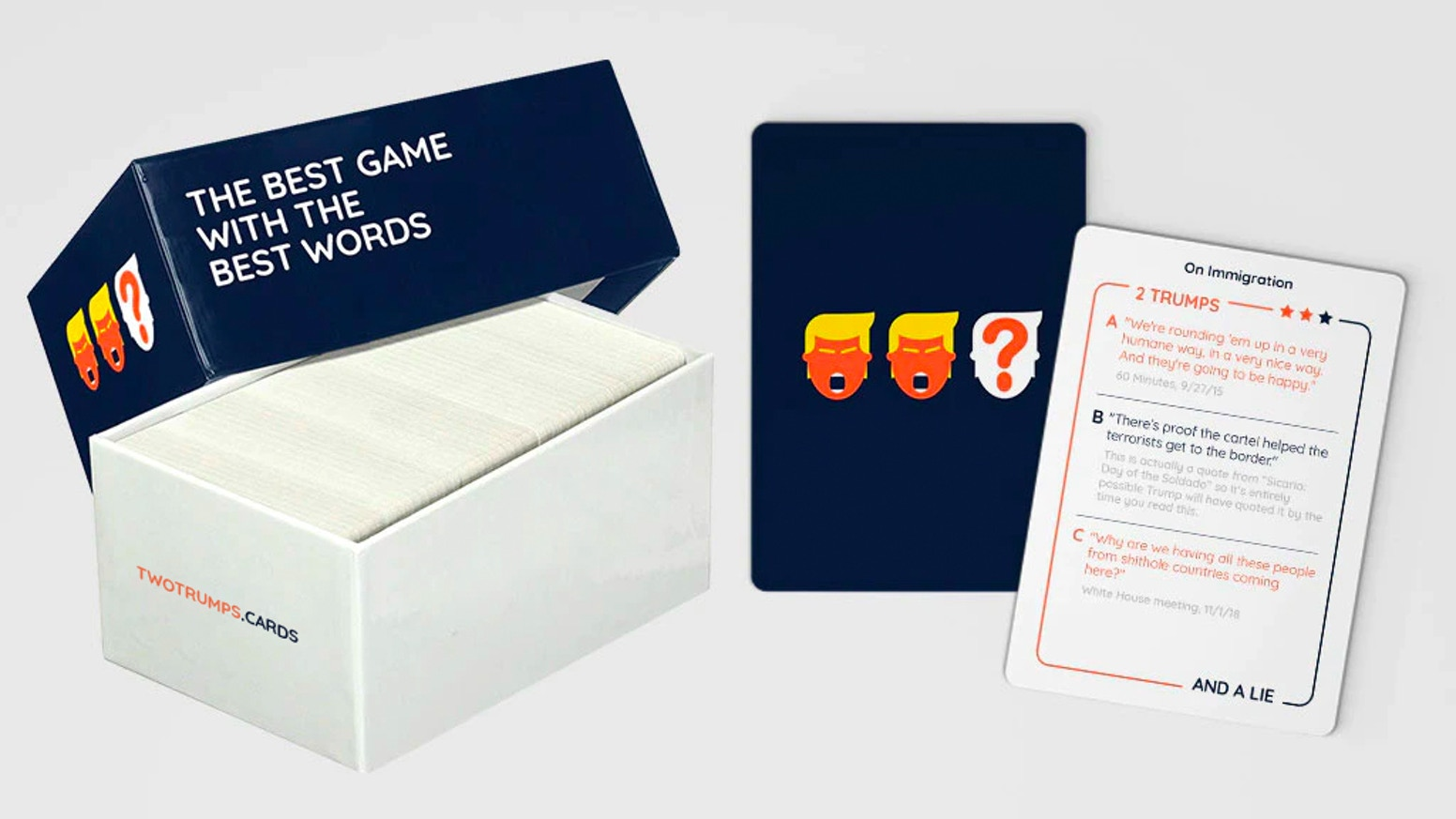 Can't tell the actual Trump quotes from ones that are completely made up? SAD. But hilarious! So let's Make Game Night Great Again! We are continuing to take pre-orders during production, link below.