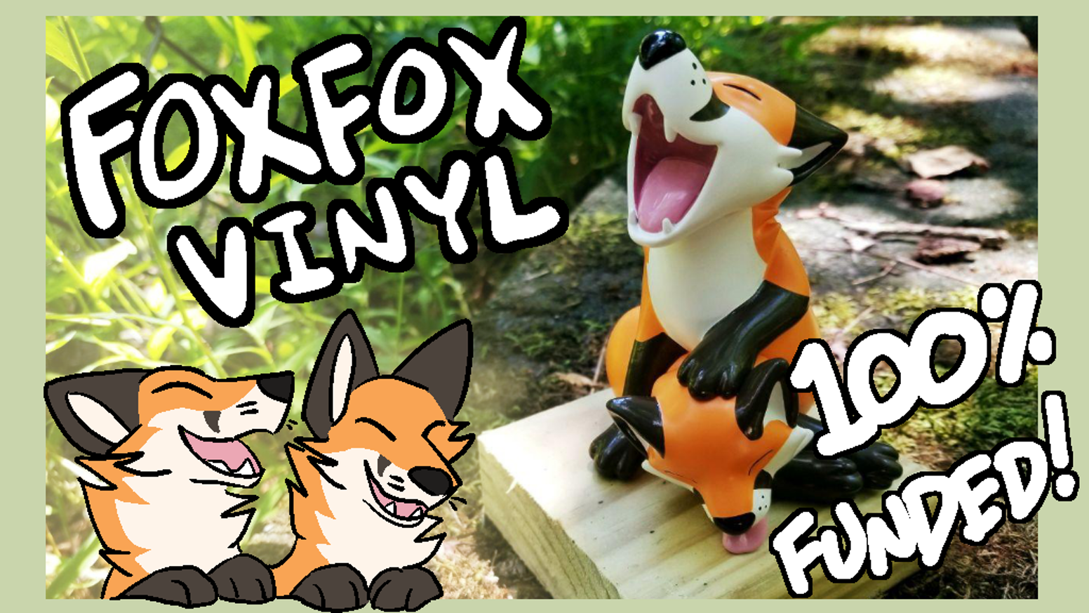 A soft vinyl designer toy of a two-headed fox